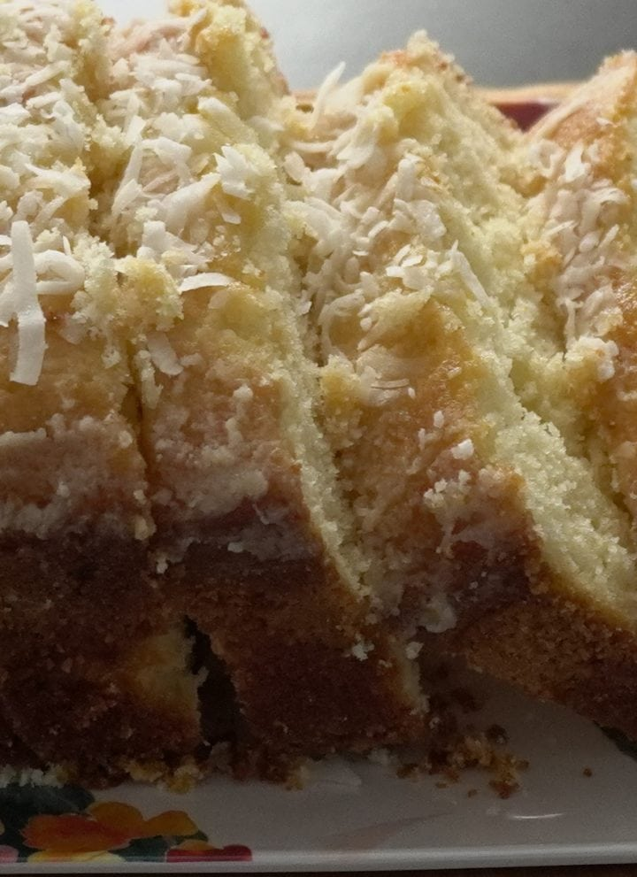 Glazed coconut cake