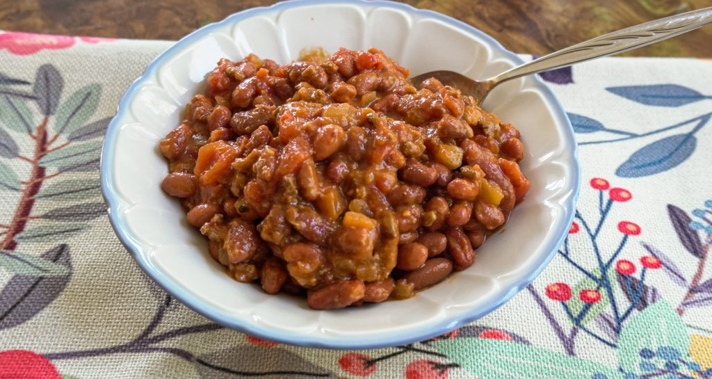 Slow Cooker Beefy Chili in white bowl