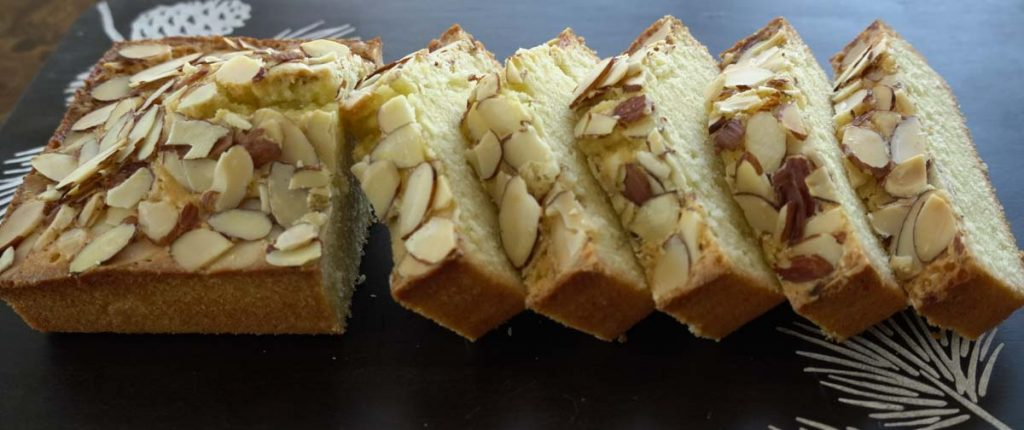sliced almond loaf cake