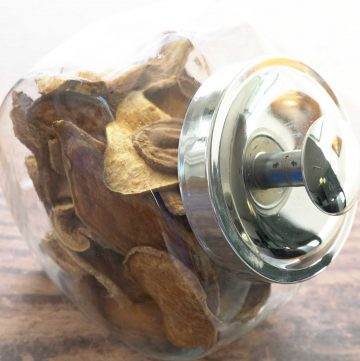 sweet potato and ginger dog treats in glass jar