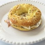 Low carb egg bagel sandwich on white plate