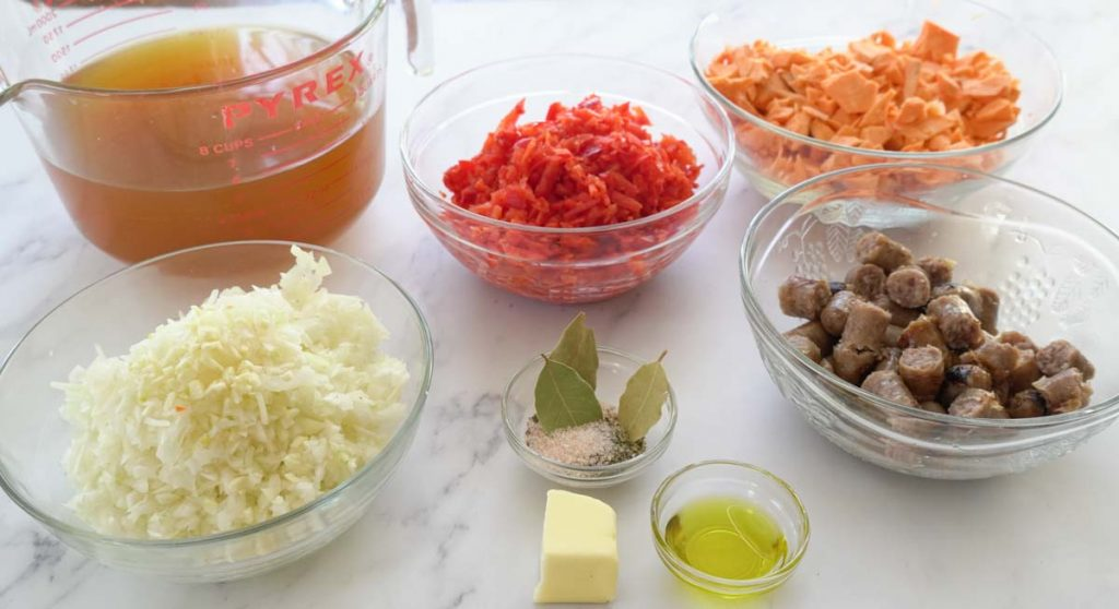 ingredients for red pepper & sweet potato with sausages soup