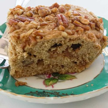 refined sugar free pecan streusel cake