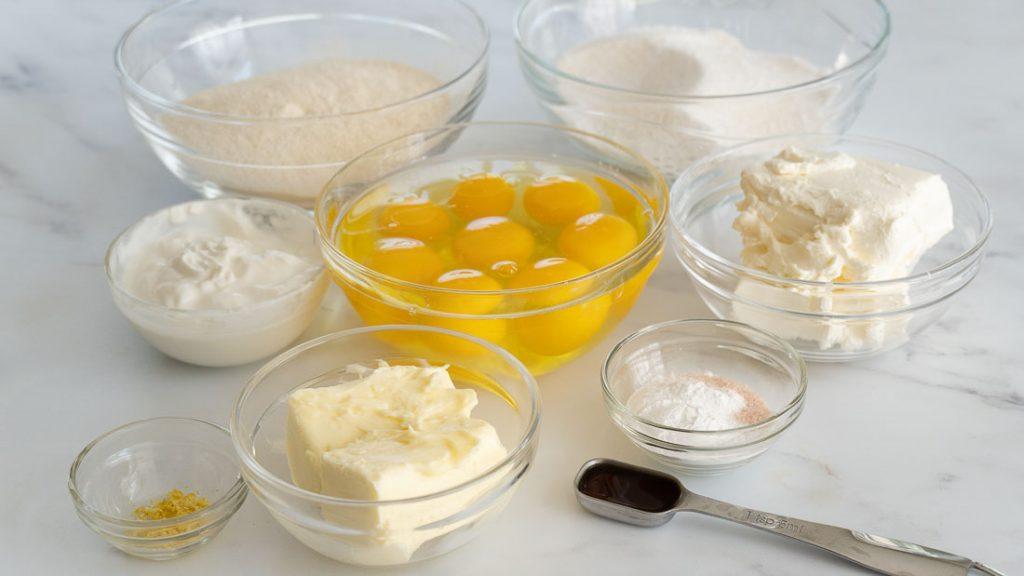 coconut flour, eggs, butter, yogurt, cream cheese, lemon zest, vanilla, sugar substitute
