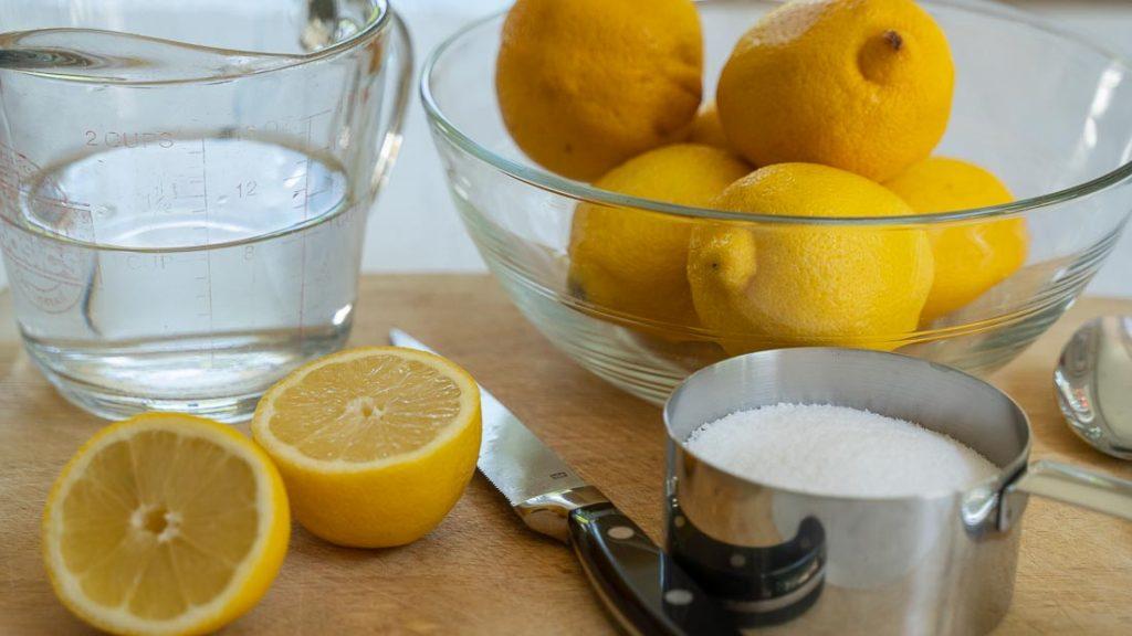 lemons, water, sugar substitute are the ingredients for keto lemonade.