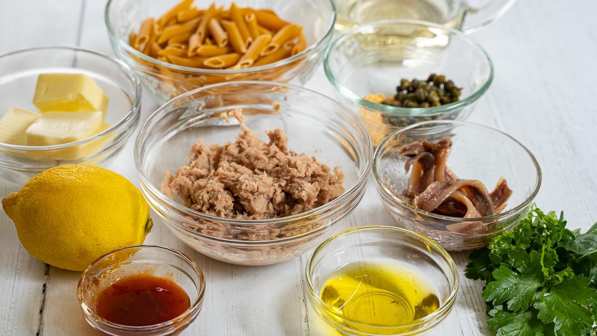tuna, butter, olive oil, lemon, capers, chili paste, anchovies, white wine, herbs, chickpea pasta
