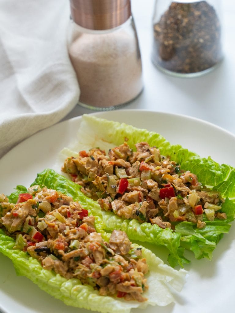 chicken salad with homemade tarragon aioli on romaine lettuce