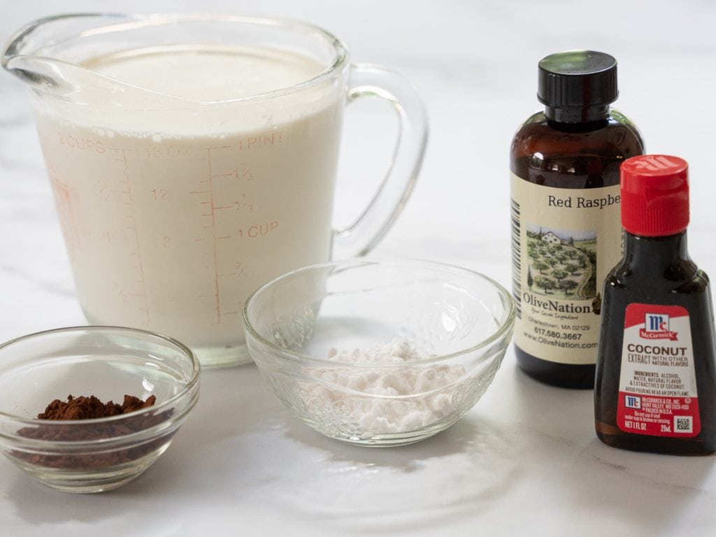 heavy cream, cocoa powder, coconut and raspberry extracts
