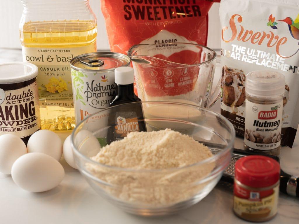 almond & coconut flours, monkfruit, Swerve, baking powder, canola oil, nutmeg, pumpkin pie spice,pumpkin puree, eggs, vanilla