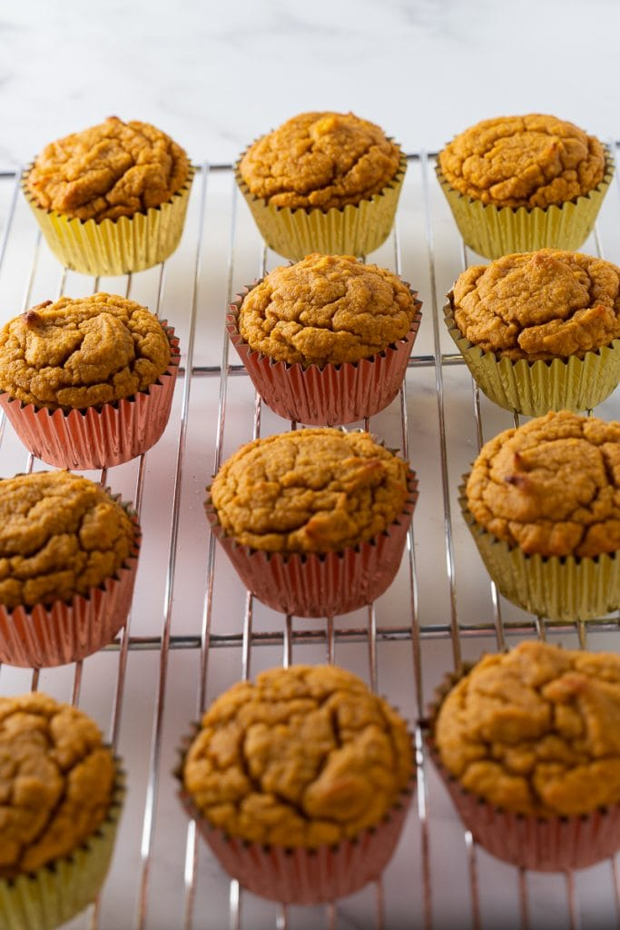 keto pumpkin muffins on cooling rack