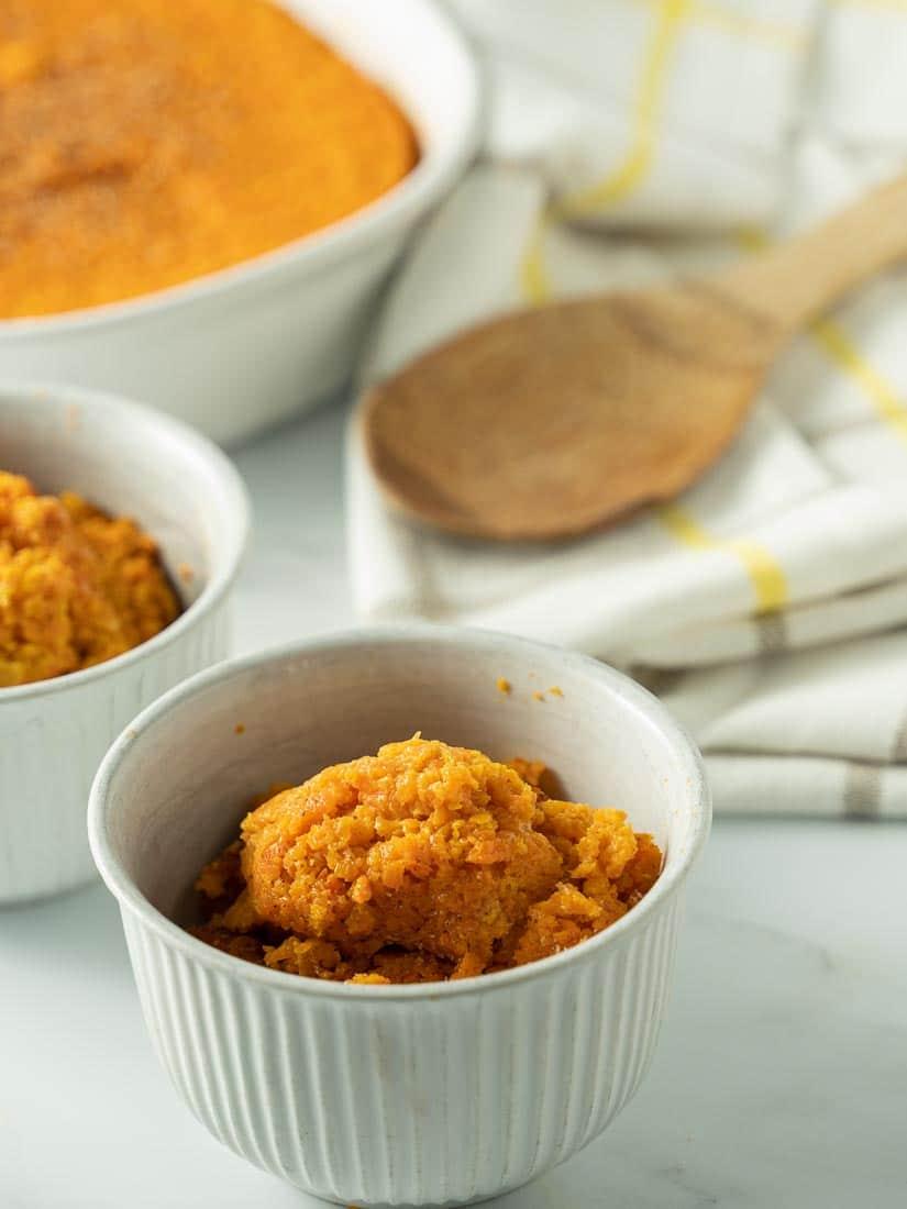 sweet low carb carrot casserole in ramekin bowl