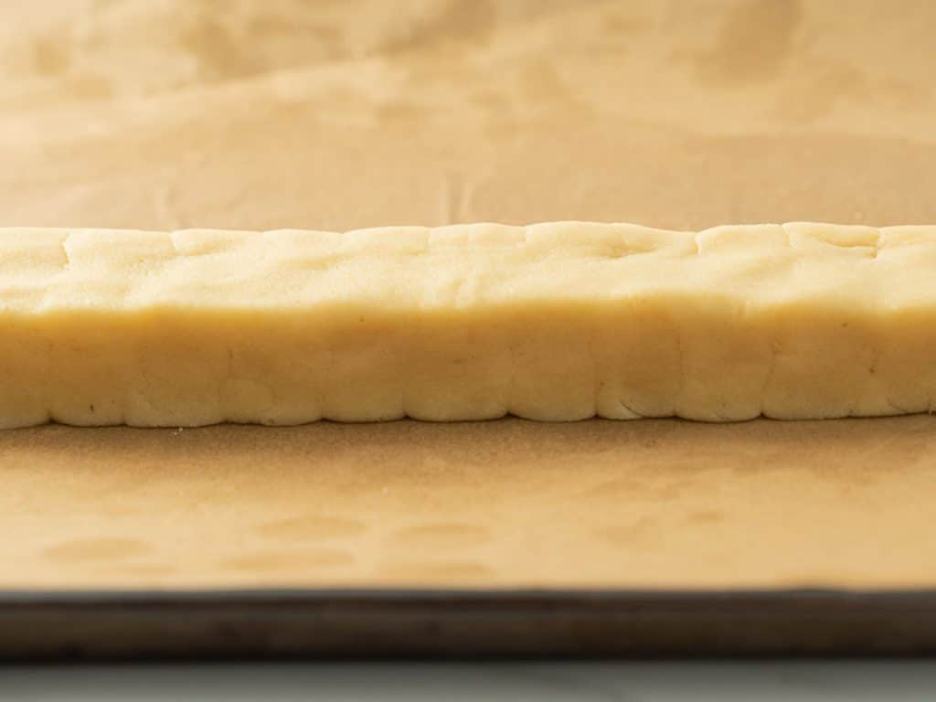 shaped, rectangular cookie dough