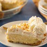 keto coconut cream pie on white dish