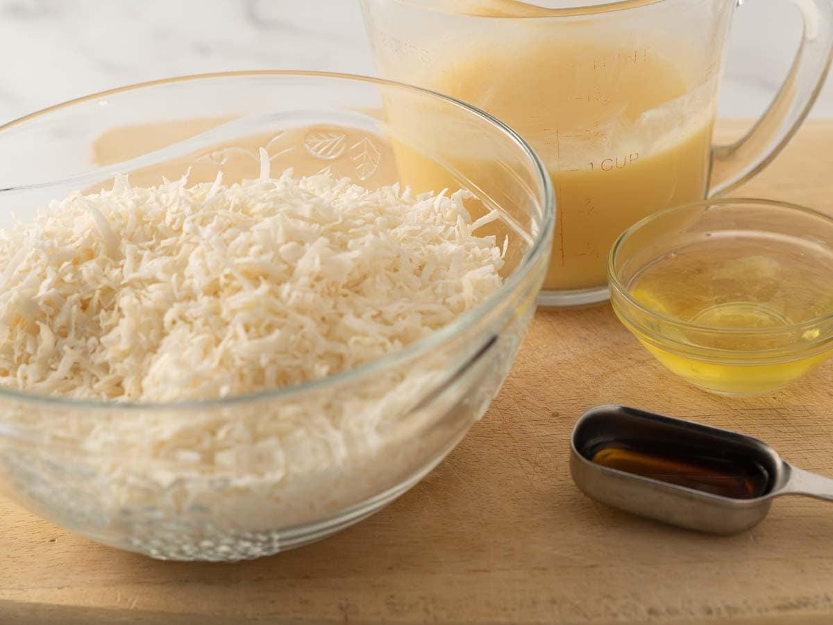 unsweetened coconut, egg whites, vanilla, keto condensed milk