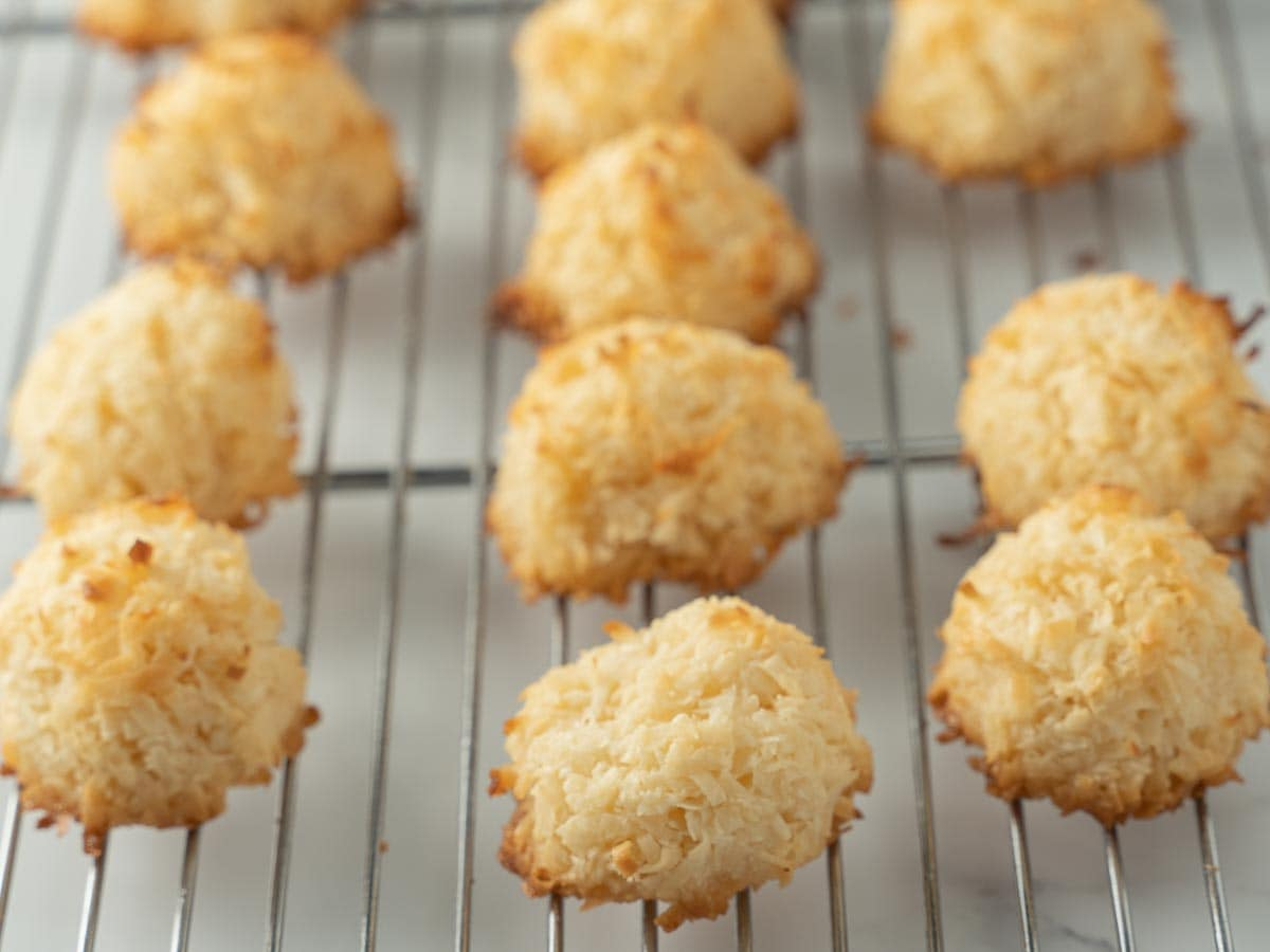 baked coconut macaroons on cooling rack