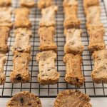 blueberry dog biscuits on cooling rack