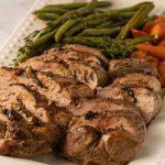 keto pork tenderloin with balsamic glaze, carrots, string beans