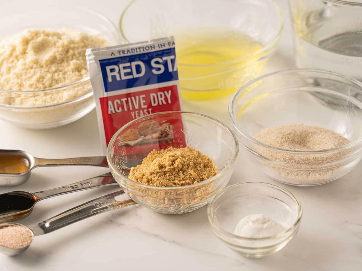 almond flour, yeast, baking powder, egg whites, flaxseed meal, psyillium husk powder, salt molasses