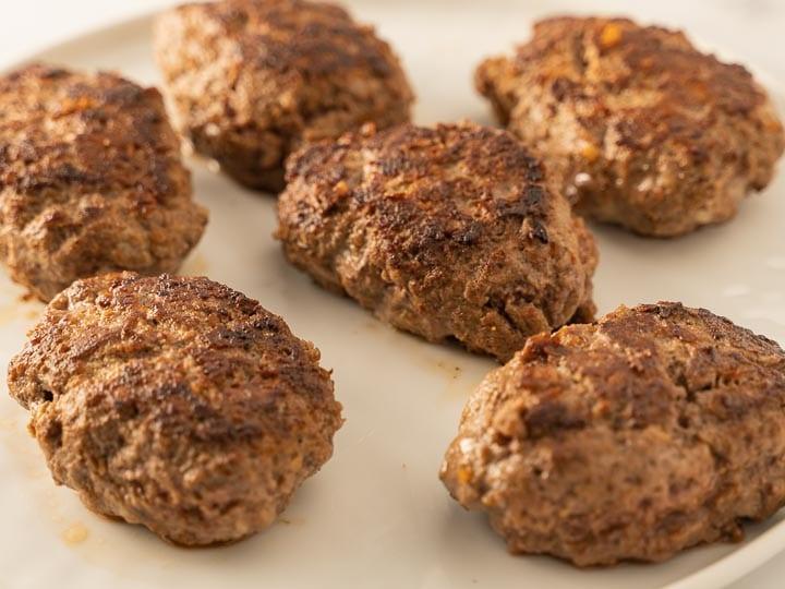 pan seared salisbury steak patties in pan