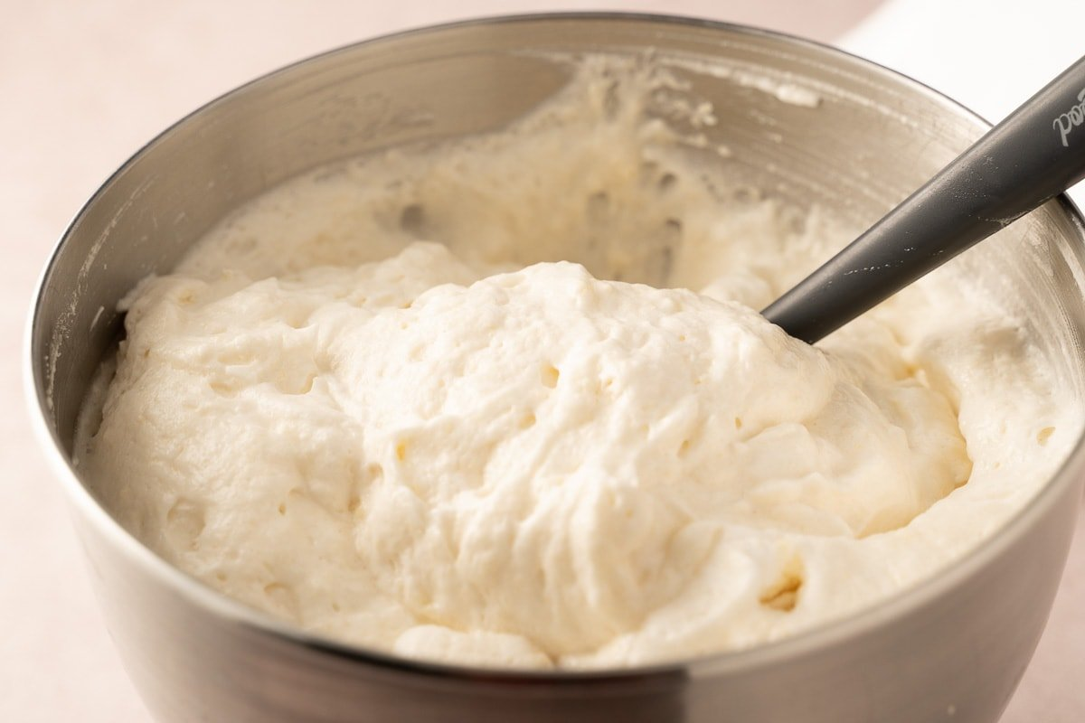 angel food cake batter in mixing bowl