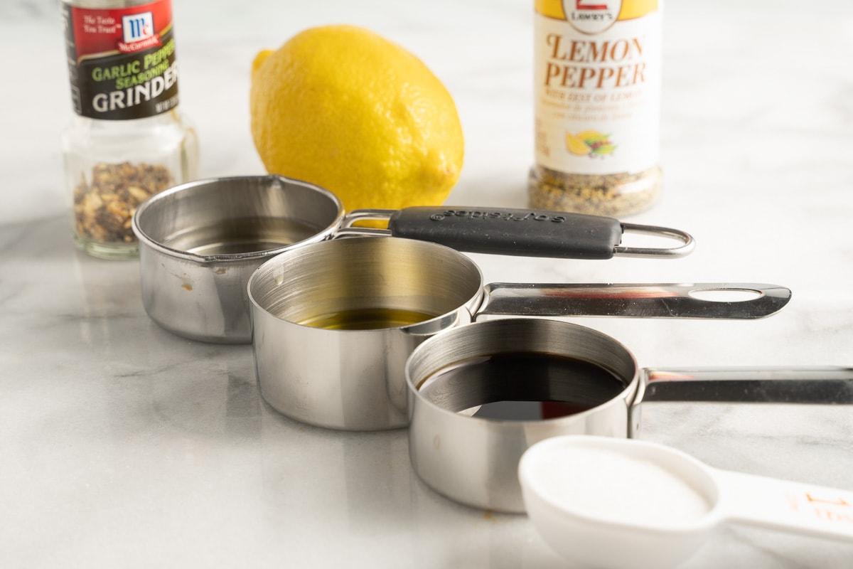 olive oil, lemon pepper, lemon juice, soy sauce, vinegar