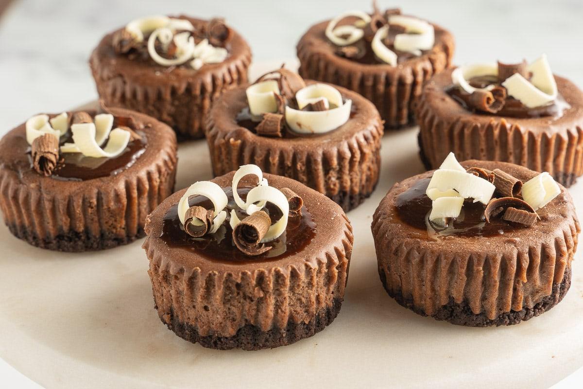 keto mini chocolate cheesecakes on plate