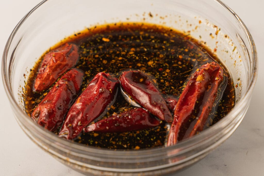 chili peppers in soy sauce marinade