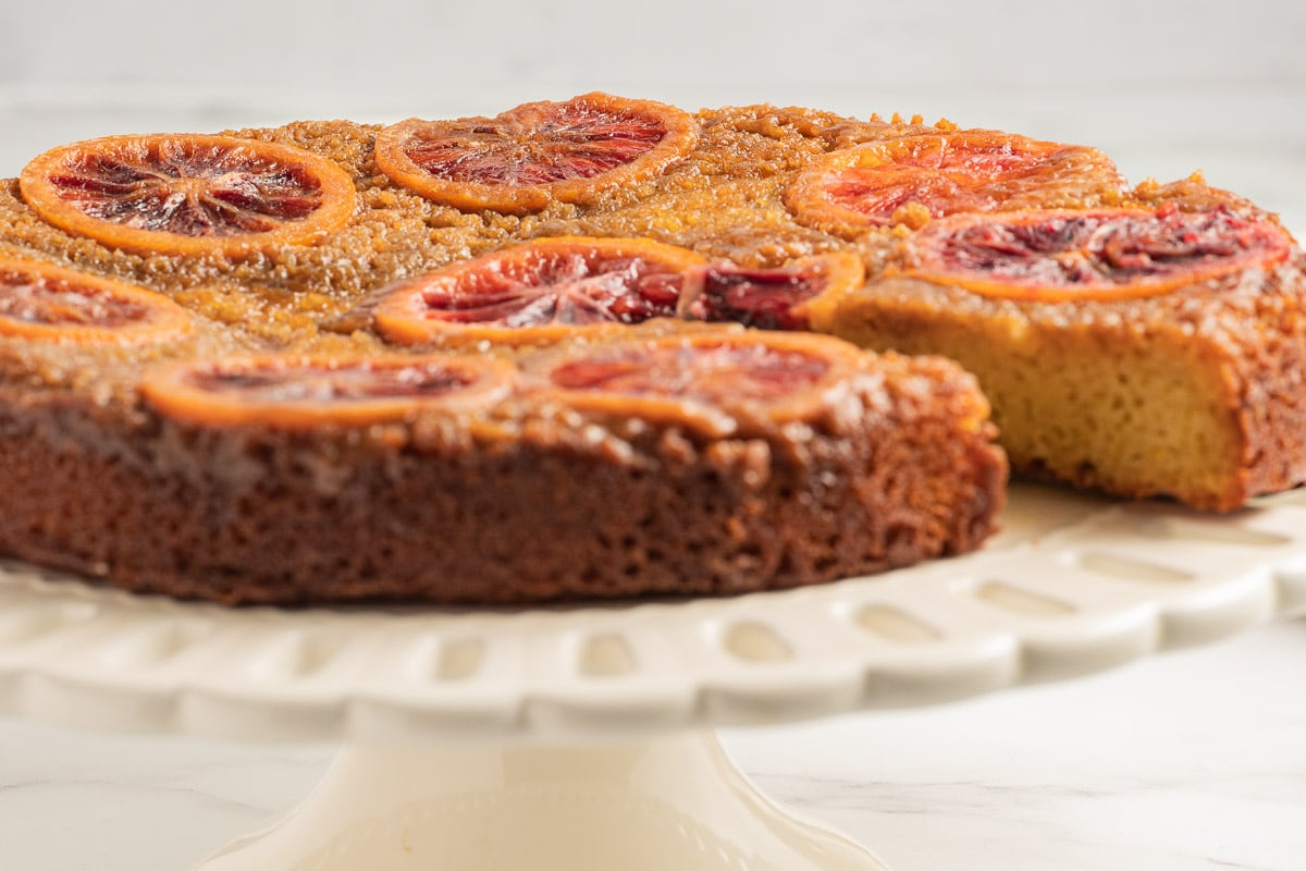 keto upside down blood orange cake on white platter