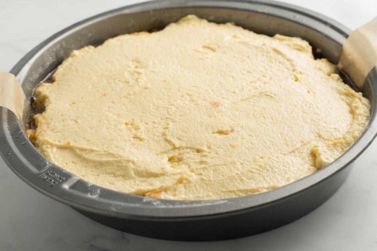cake batter in cake pan