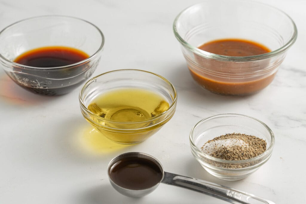 soy sauce, balsamic dressing, olive oil, spices, Worcestershire sauce