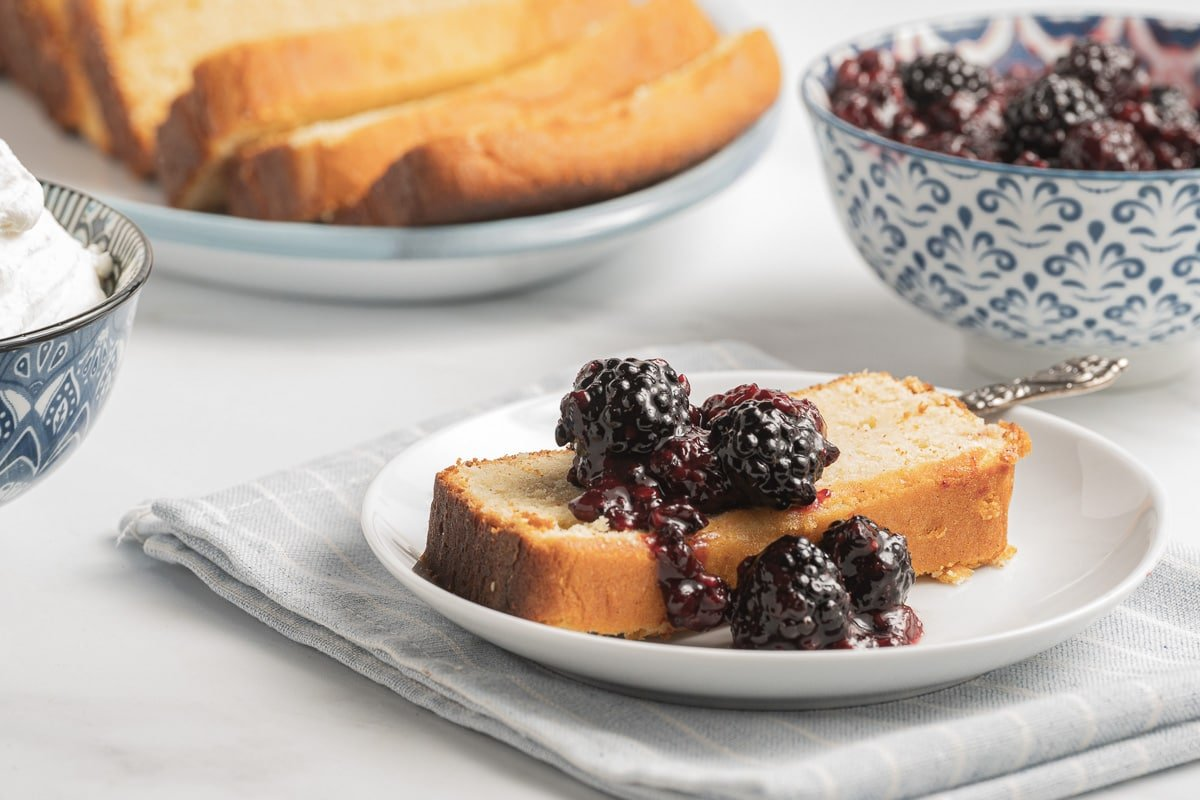 blackberry compote on pound cake