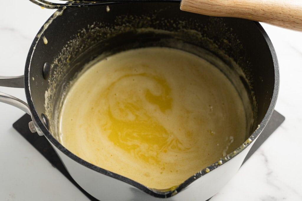 egg yolks, sugar, lemon juice in saucepan