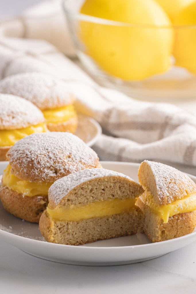 donuts with lemon curd filling on plate