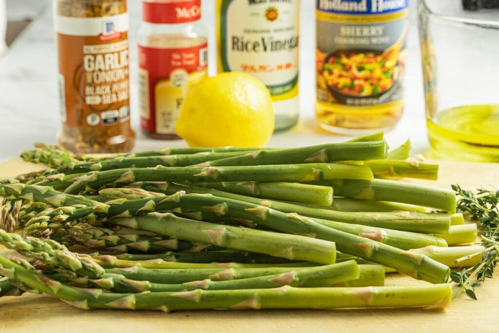 asparagus, garlic, lemon, vinegar
