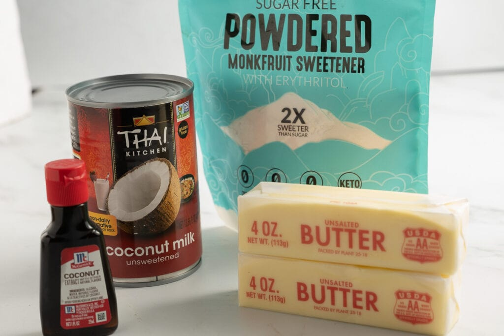 sugar substitute, butter, coconut milk, coconut extract