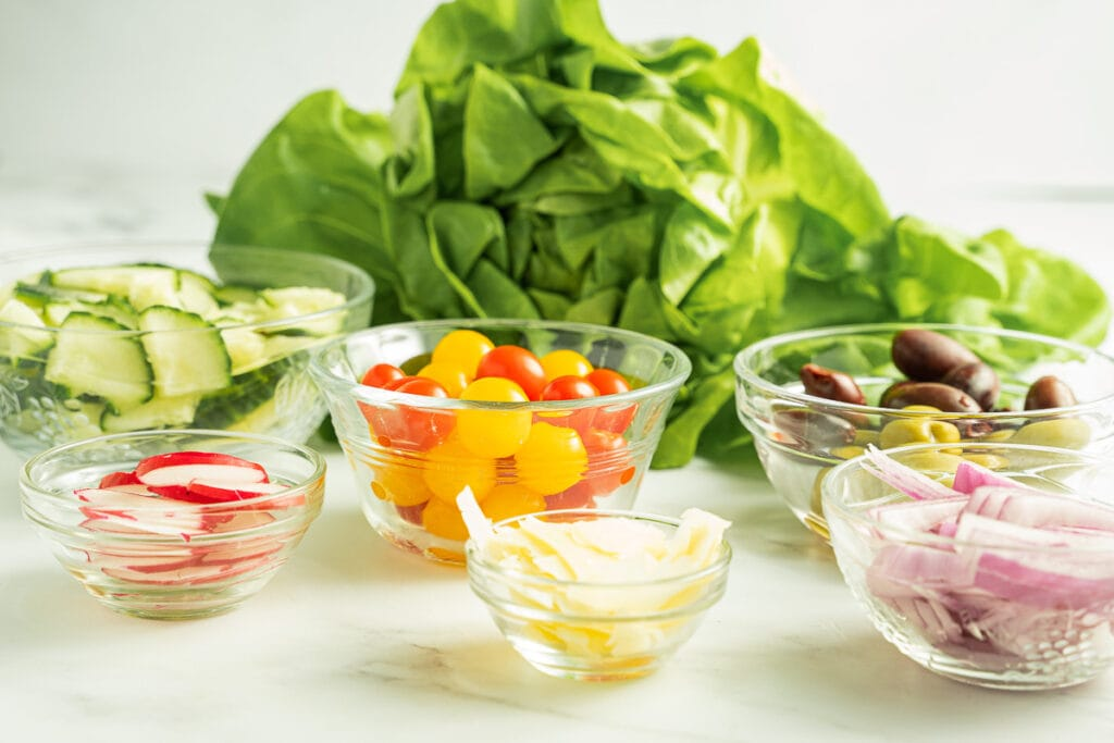 butter lettuce, cherry tomatoes, olives, radishes, red onion, parmesan cheese