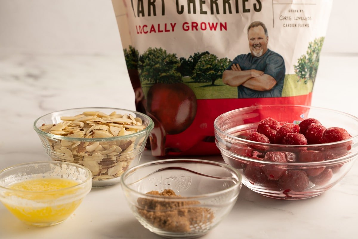 package of tart cherries, almonds, brown sugar, melted butter