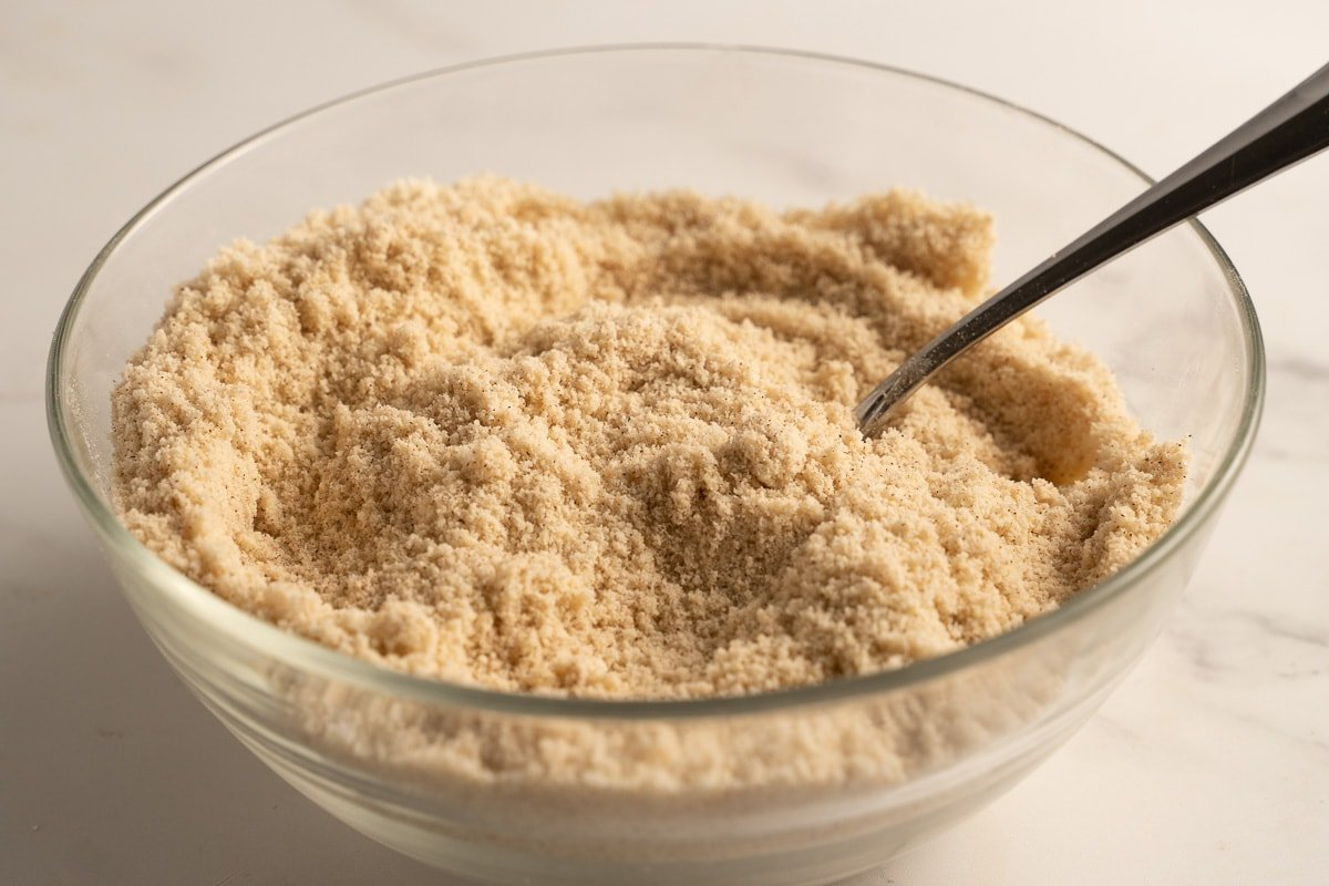 almond and coconut flours in glass bowl