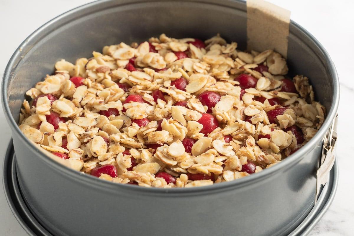 keto almond cherry cake in springform pan