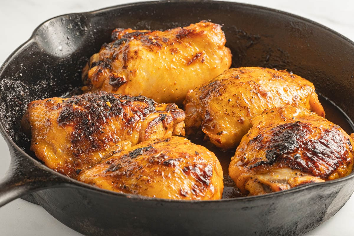 chicken thighs in cast iron skillet
