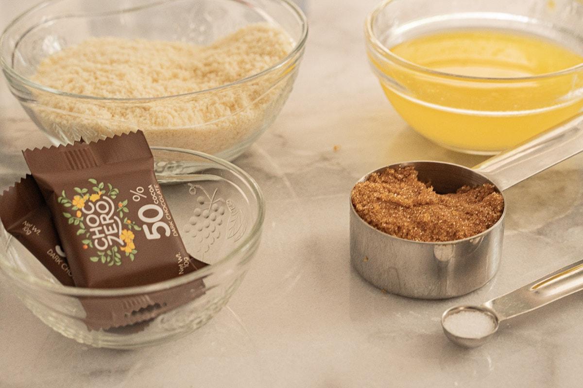 almond flour, butter, sugar free chocolate, brown sugar