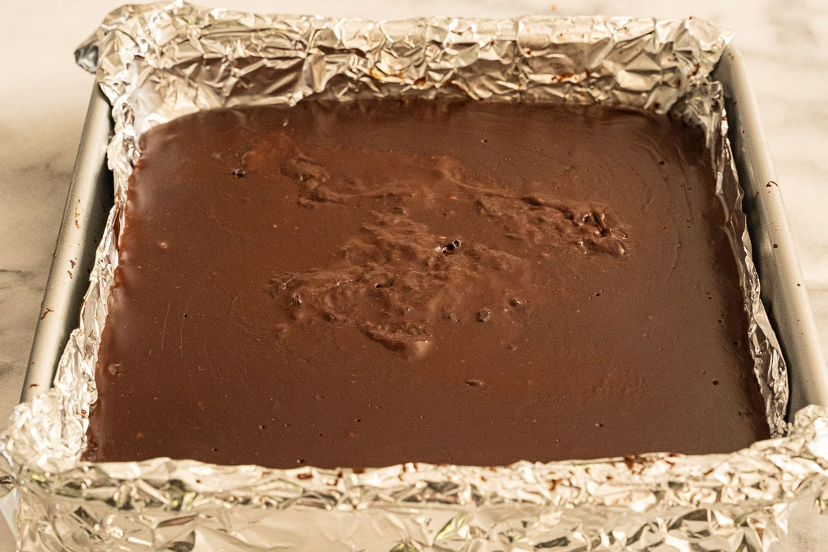 chocolate pudding bars in pan