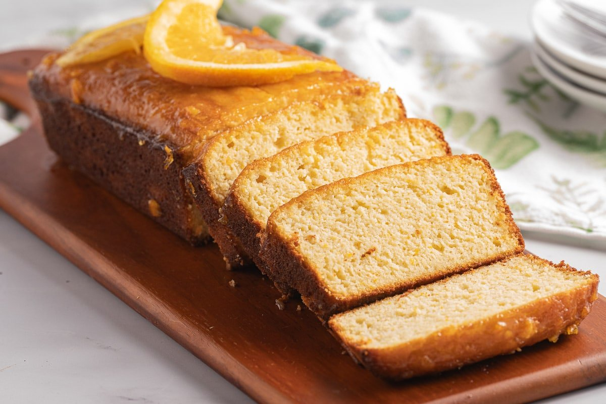 pound cake with orange on board