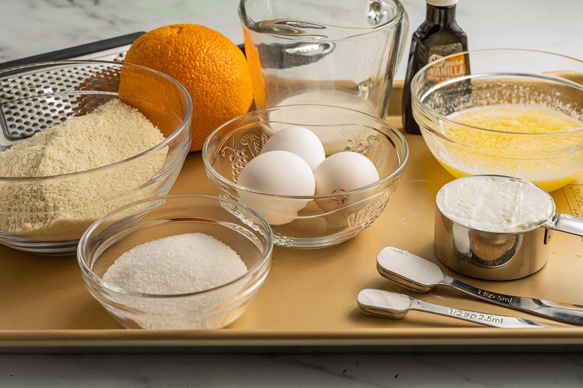 almond flour, orange, eggs, butter, sugar substitute, heavy cream and vanilla extract