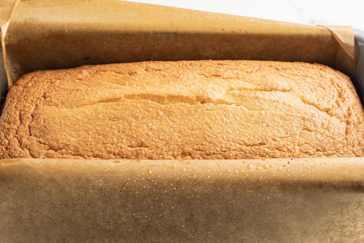 keto pound cake in loaf pan