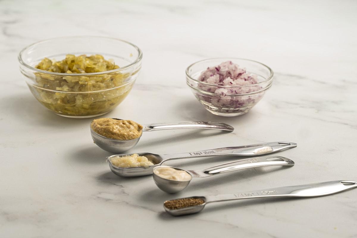 pickle relih, onion, mustard, garlic