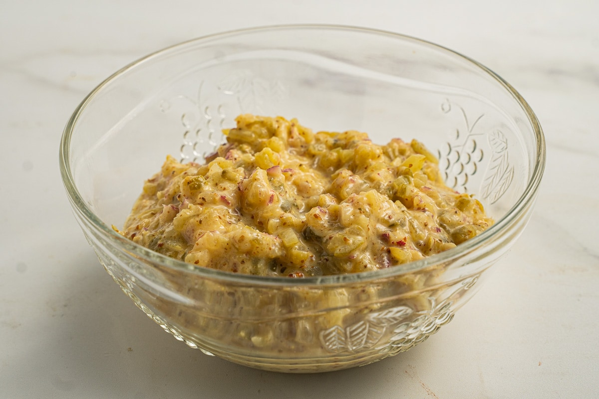 mustard relish in glass bowl