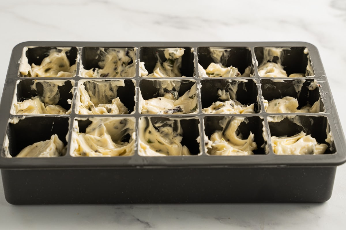 basil butter in ice cube tray