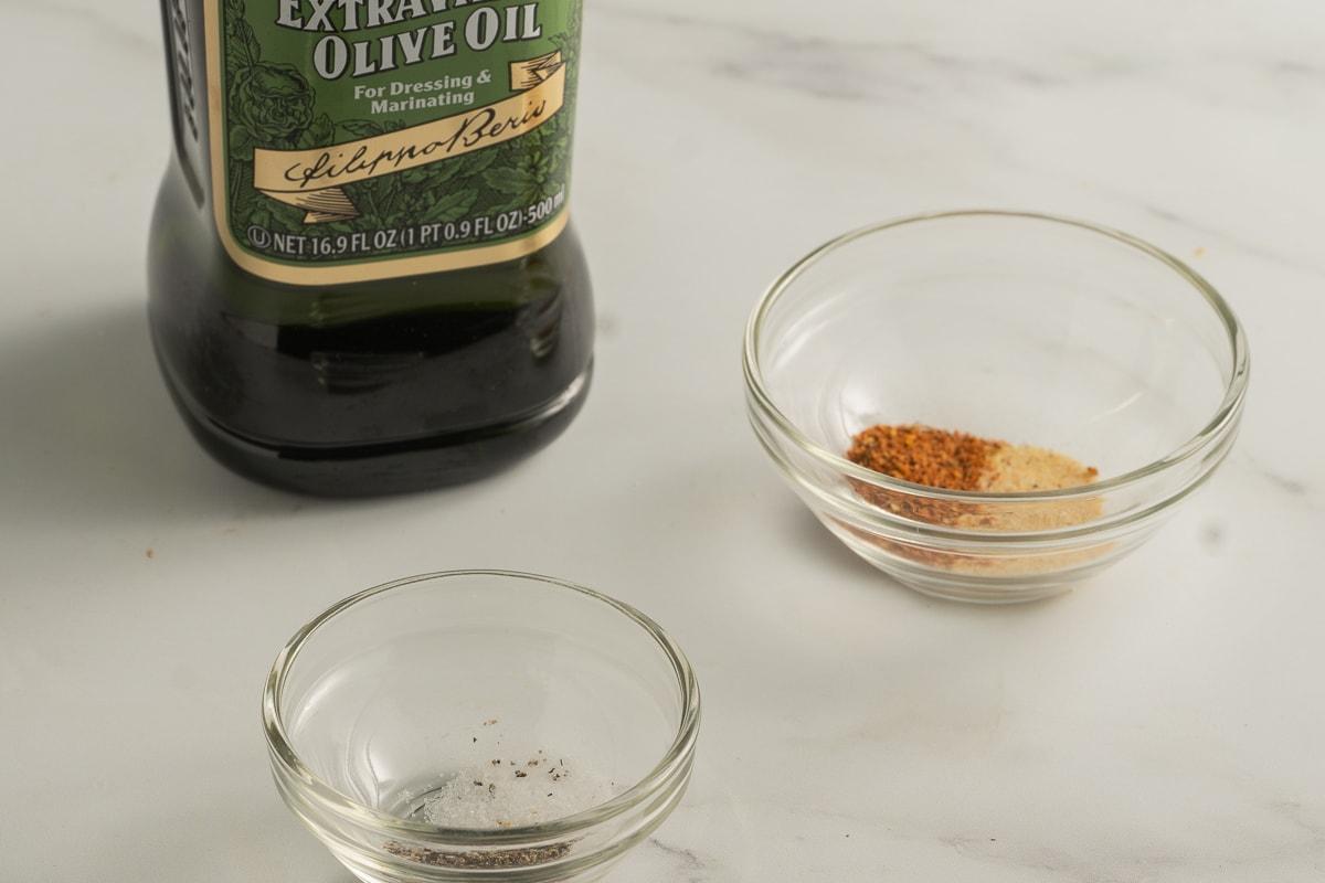 olive oil, seasonings