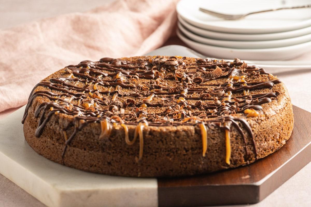 keto peanut butter cake on platter
